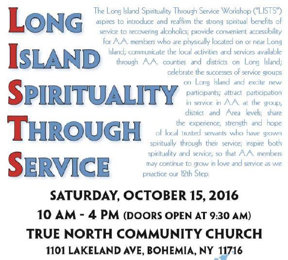 Long Island Spirituality Through Service (LISTS) @ True North Community Church | Bohemia | New York | United States
