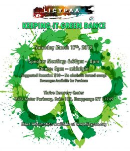 LICYPAA Keeping It Green Dance @ Thrive Recovery Center, Suite 102   Hauppauge   New York   United States